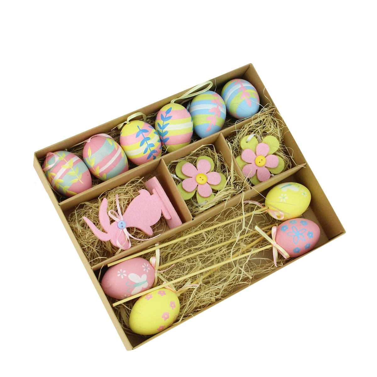 Set of 13 Pastel Pink, Blue and Yellow Easter Egg, Flower & Bunny Spring Decorations