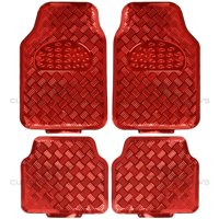 BDK Universal Fit 4-Piece Metallic Design Car Floor Mat - Heavy Duty Protection Full Set