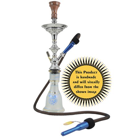 KHALIL MAMOON SAFARI 22? COMPLETE HOOKAH SET: Single Hose shisha pipe. Handmade Egyptian Narguile Pipes. These are Traditional Middle Grade Metal (Shisha Pipe)