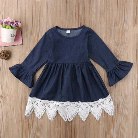 Newborn Infant Baby Girls Denim Lace Ruffles Dress Princess Party Clothes - Home Party Outfit