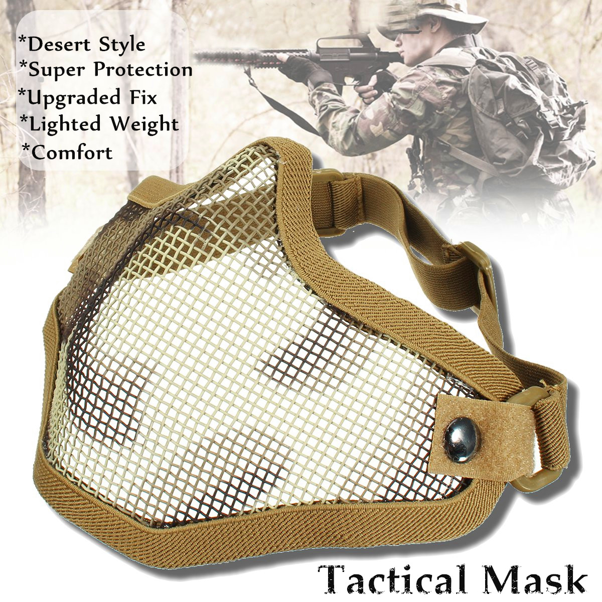 Airsoft Gear Lower Half Face Strike Metal Mesh Tactical Protective Mask Cover by