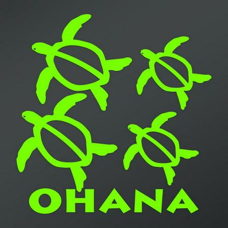 Ohana Hawaiian Sea Turtle Family With 2 Babies | 6-Inches By 6-Inches | Lime Green (Hawaiian Sea Turtles)