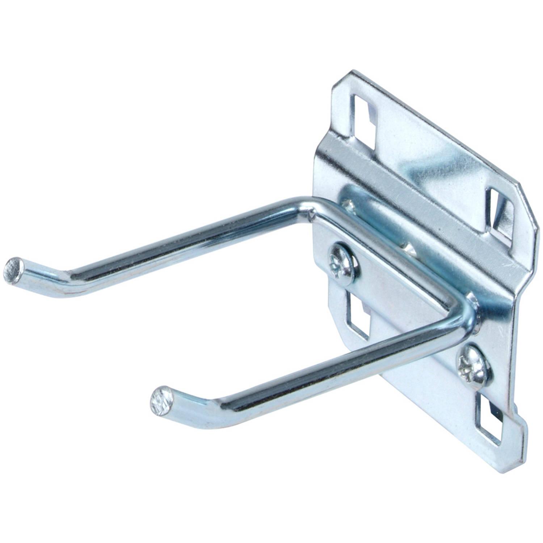 """LocHook 2"""" Double Rod 30-Degree Bend 3/16""""D Zinc Plated Steel Pegboard Hook for LocBoard, 5pk"""