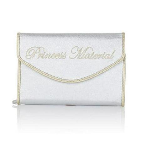 SNOB Essentials Disney Cinderella Princess Material Clutch Jewelry Bag Metallic Silver Handbag Purse Small Designer Womens 406981 Designer Handbags Shop