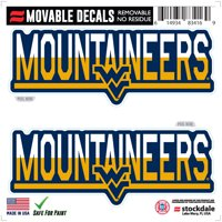 """West Virginia Mountaineers 6"""" x 6"""" Two-Tone Repositionable Decal 2-Pack Set"""