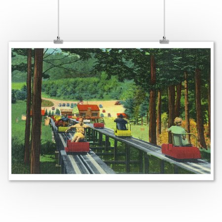 Travel Time Wall (North Conway, New Hampshire - Cranmore Mountain Ski-Mobile in Summertime (9x12 Art Print, Wall Decor Travel Poster) )
