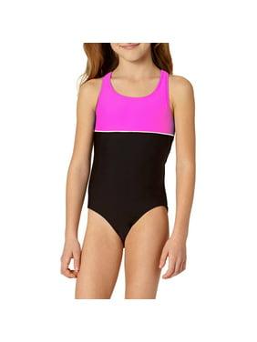 LIttle Girls' 4-6X Color Block Athletic One Piece Swimsuit