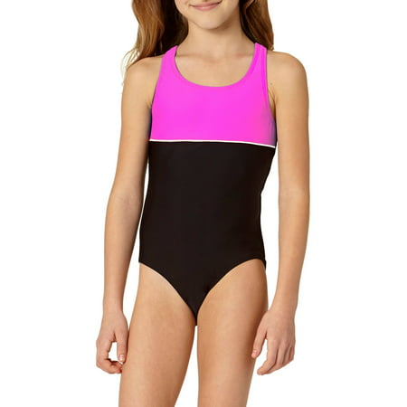 LIttle Girls' 4-6X Color Block Athletic One Piece Swimsuit