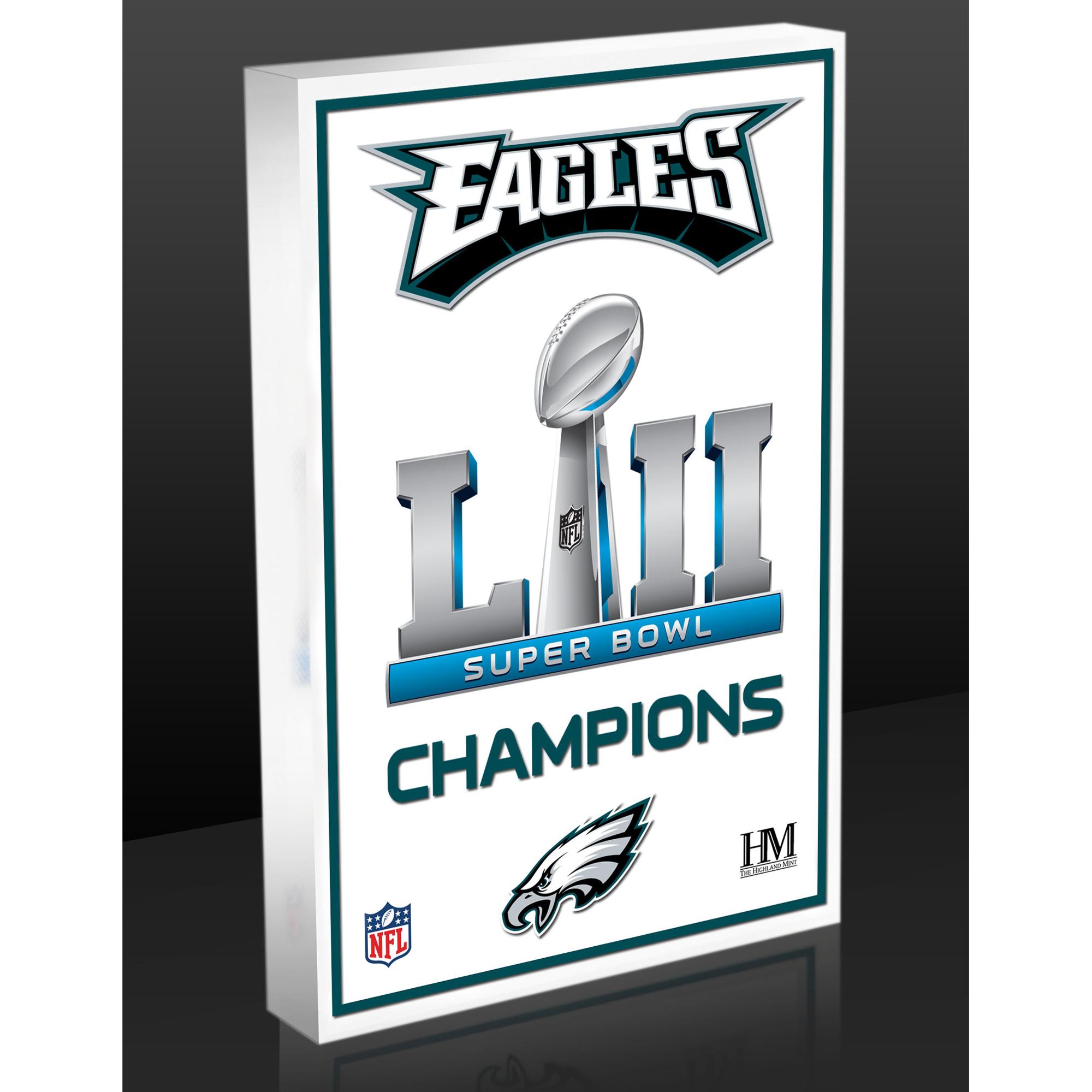 "Philadelphia Eagles Highland Mint 4"" x 6"" Super Bowl LII Champs 3D Art Block - No Size"