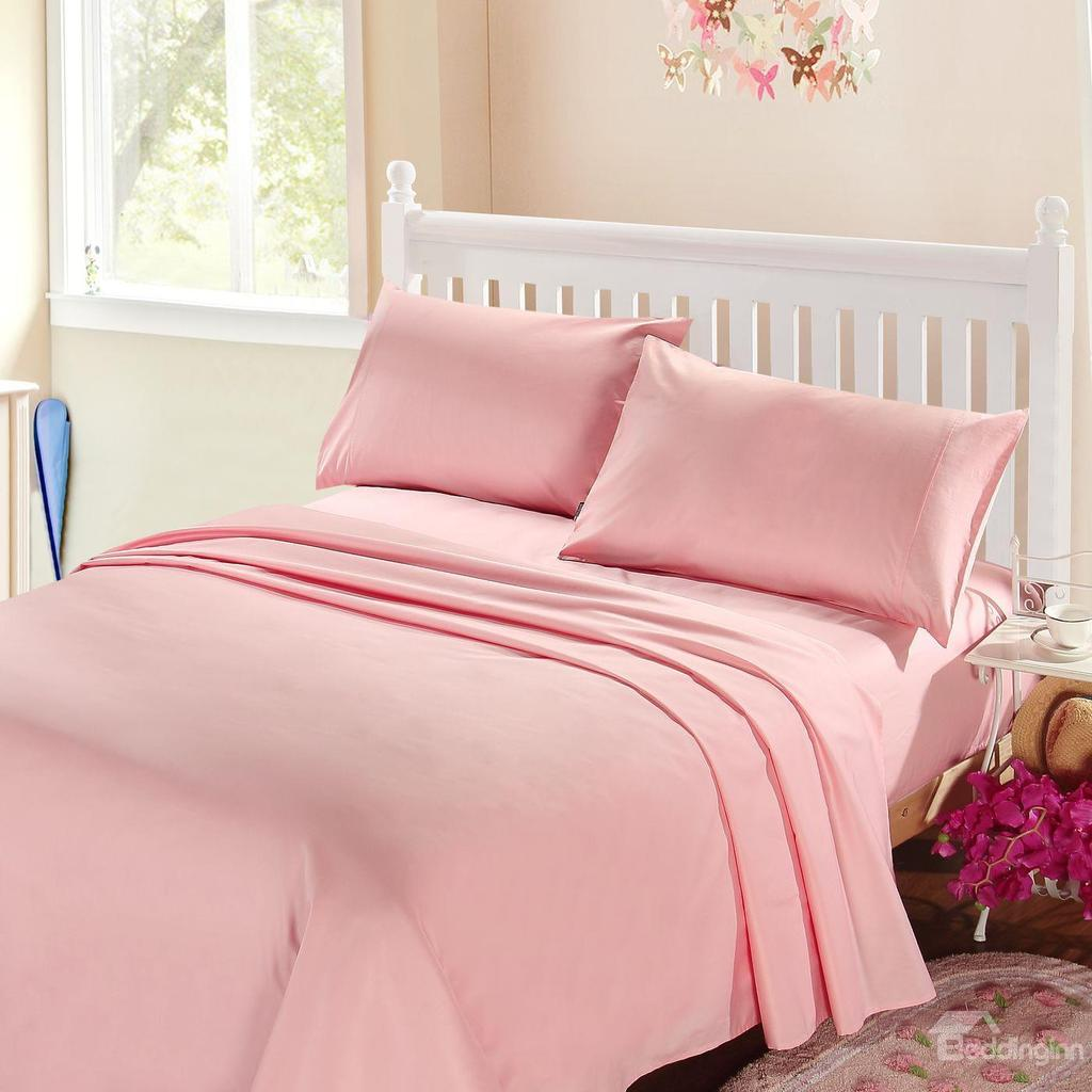 Egyptian Bedding 100% Egyptian Cotton 300 Thread Count 4 Peice Bed Sheet Set, Pink Solid, Full Size