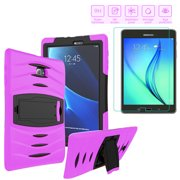 Galaxy Tab E 7.0 Lite/Tab 3 7in Lite Case, Heavy Duty Shockproof Case with Stand, Includes (2 Pack) Tempered Glass Screen Protector For 7 inch Samsung Galaxy Tab E 7 T110/T111/T113/T116 (Purple)