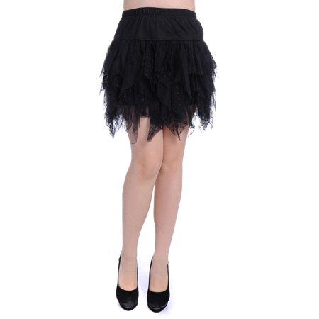 Womens Black Tulle Swiss Polka Dot Tiered Ruffle Mini Skirt