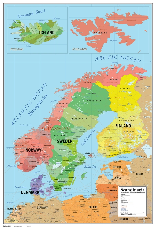 image relating to Scandinavia Map Printable titled Scandinavia Map Poster Poster Print