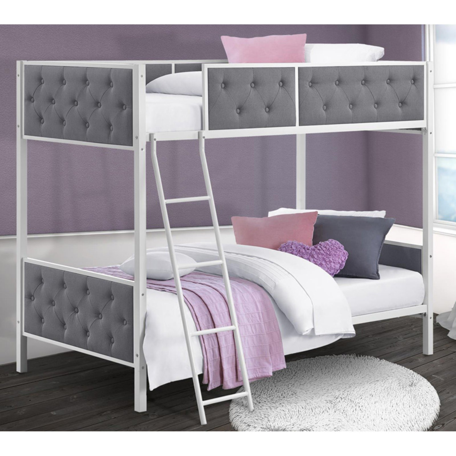 Chesterfield Upholstered Twin Over Twin Metal Bunk Bed White Metal