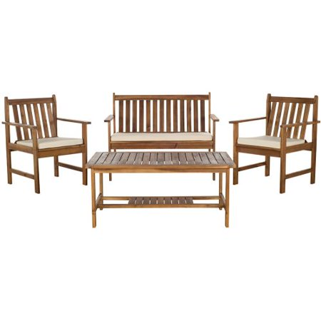 Safavieh Teak Look Beige Burbank Outdoor Chat Made Ec