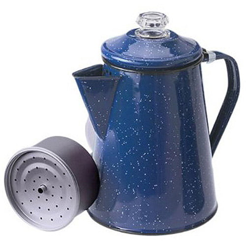 RV Fire Pit Outdoor Maker Set Camping 8 Cup Blue Enamel Percolator Coffee Pot