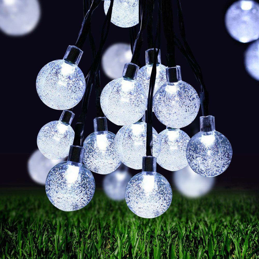 TSV Solar String Lights, 21ft 30 LED Outdoor Solar Lights, 8 Modes Crystal Ball Fairy Lights Waterproof Globe String Lights for Home, Patio, Lawn, Garden, Party and Holiday Decorations