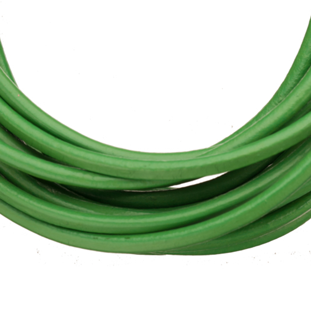 Full-Grain Genuine Leather Cord, 2mm Round Green 5 Yard