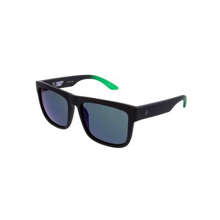 Spy Sunglasses 673119843695 Discord Scratch Resistant Square Shaped, Soft Matte Black Green Fade ()