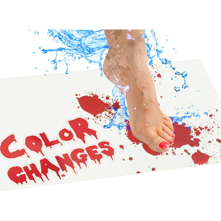 Bloody Bath Mat – Color Changing Sheet Turns Red When Wet – Make Your Own Bleeding Footprints That Disappear White – Regular Size 16x39in (420x1000mm)