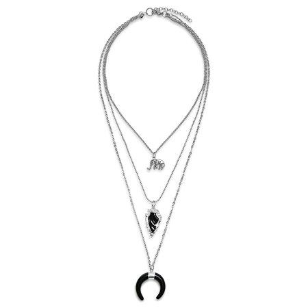 Boho Bohemian Style Long Multi Layer Elephant Charm Black Arrowhead Crescent Horn Chain Necklace For Women Silver Tone Bohemian Glass Jewelry