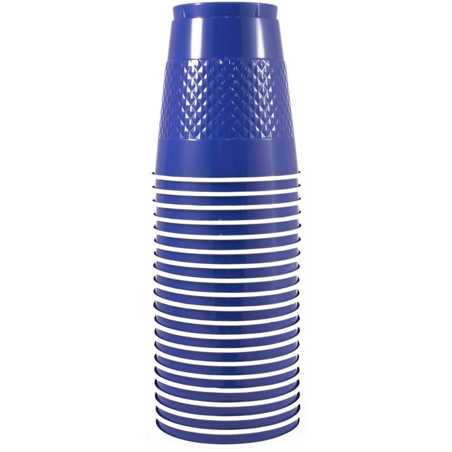 JAM Paper 12 oz Plastic Party Cups, Blue, 20pk