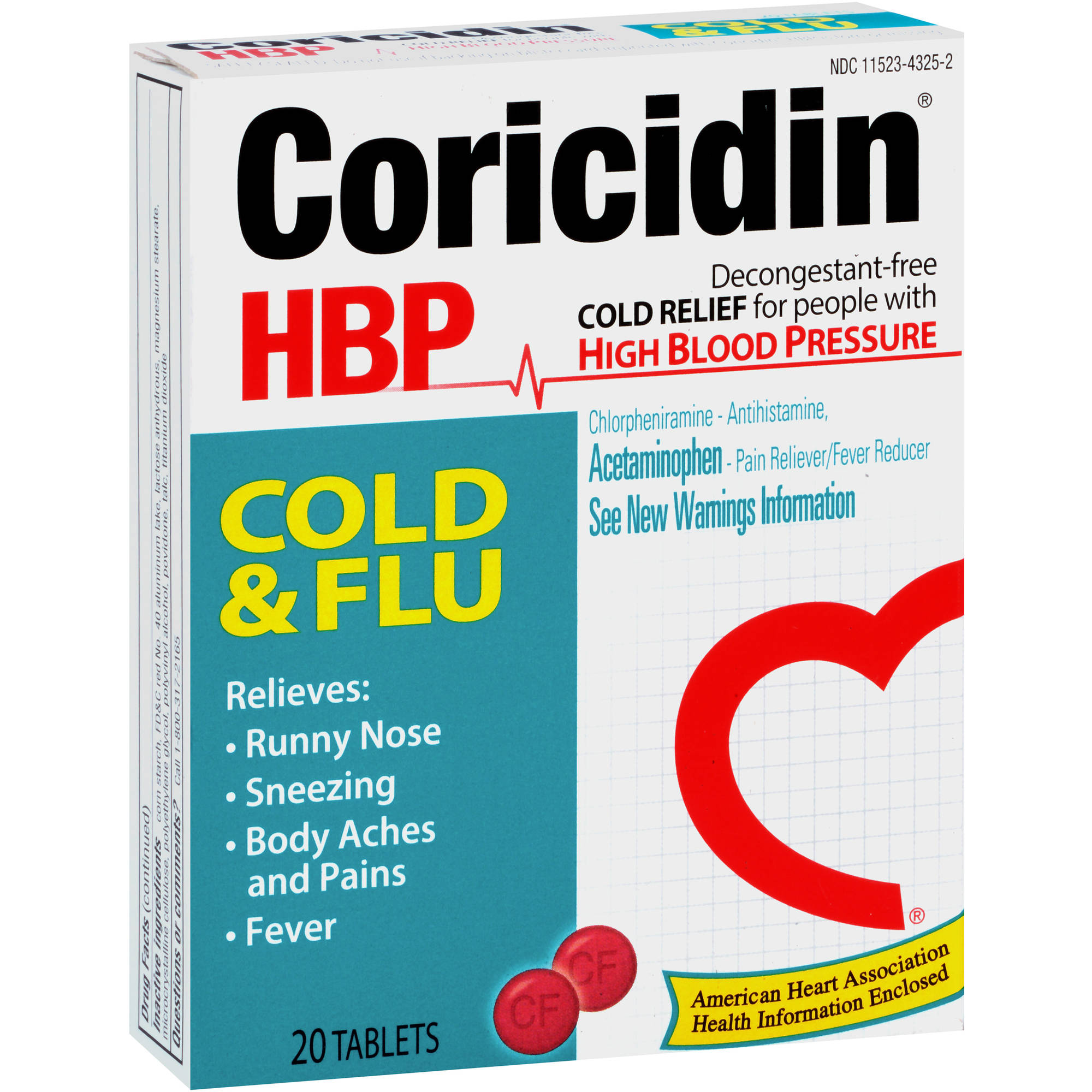 Coricidin HBP Chest Cold & Flu Relief, 20 count