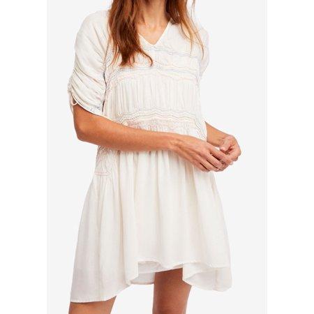 Womens Smocked V-Neck Shift Dress XS Smocked V-neck Dress