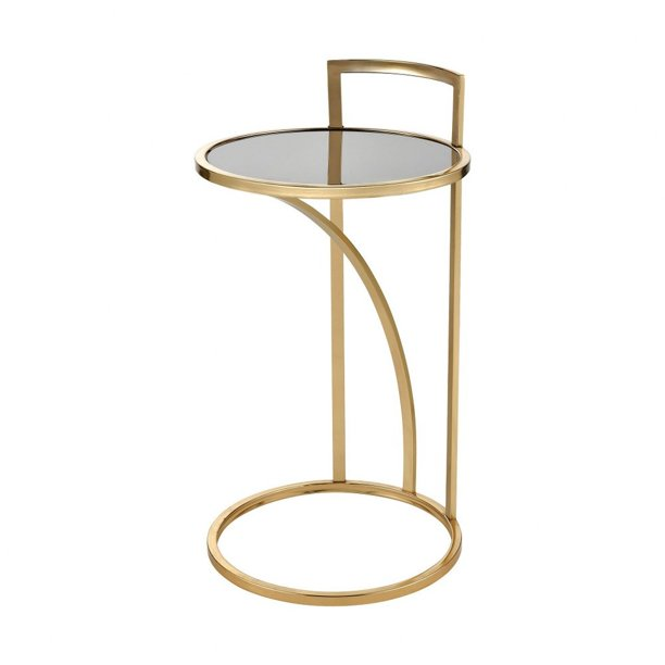 Round Accent Table In Gold Black, Round C Table