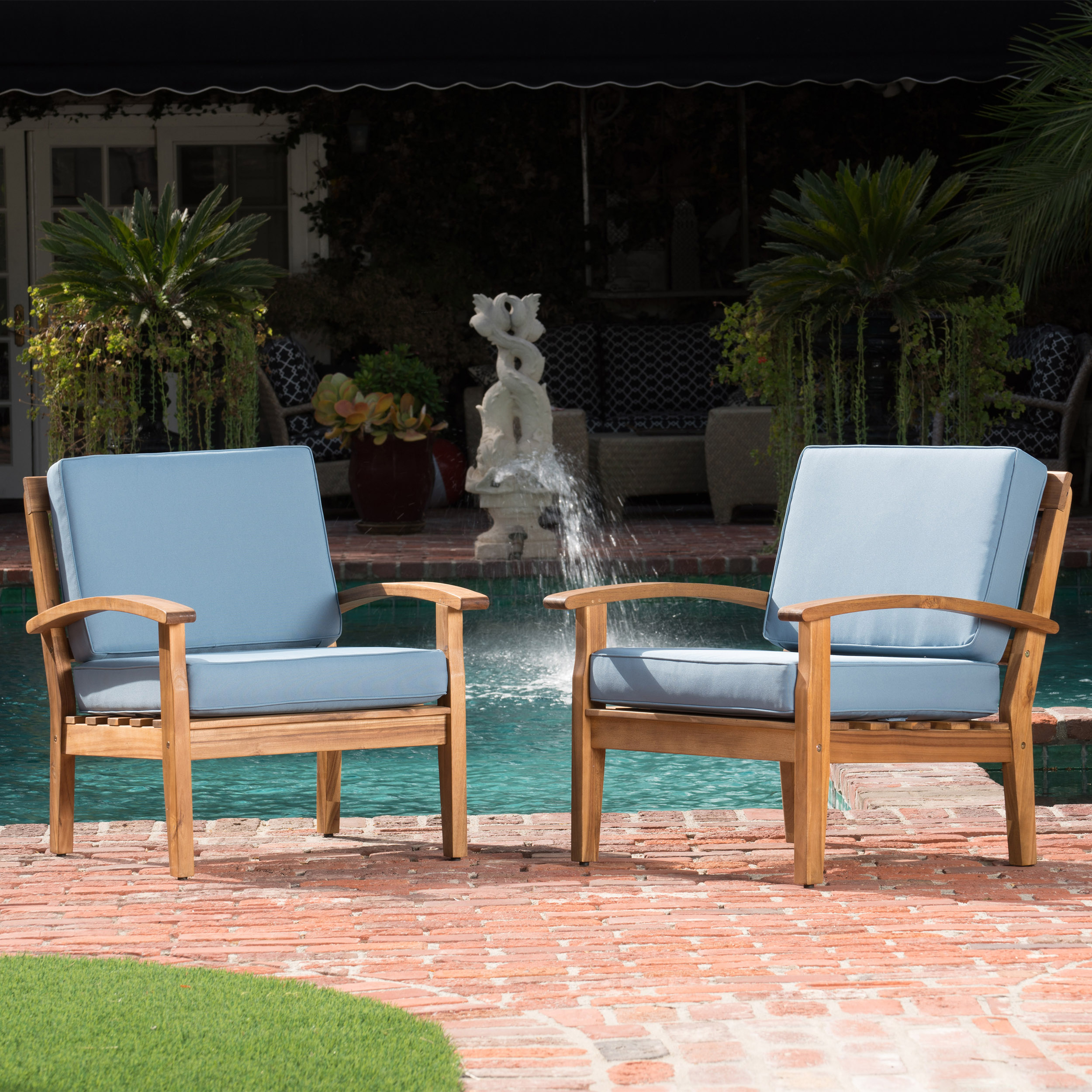 Aletta Outdoor Wooden Club Chairs with Cushions, Set of 2, Teak Finish, Blue