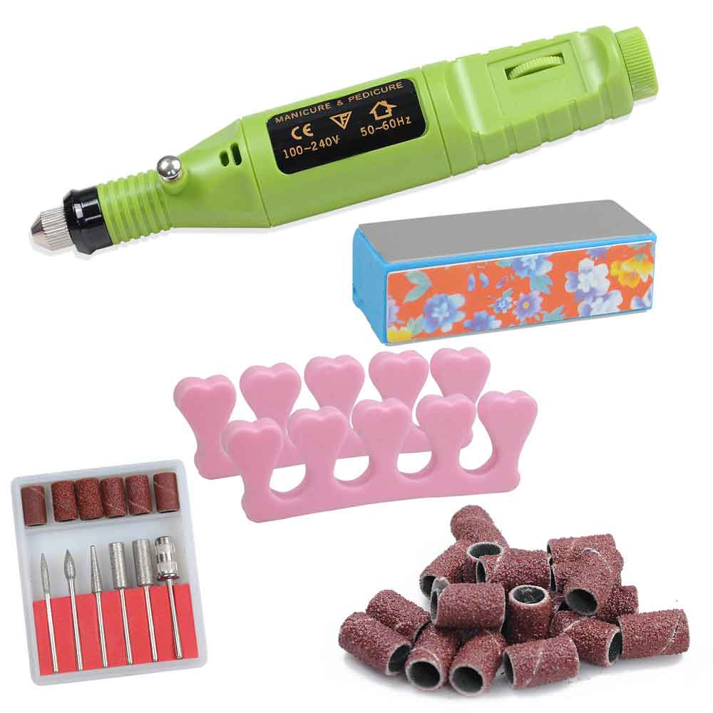 Pen Shaped Electric Nail Art Manicure Polish Drill File Machine w/ 6 Bits 100-240V
