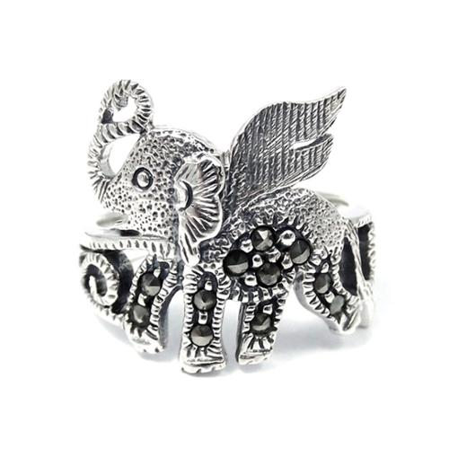 Aeravida Handmade Mythical Flying Elephant Marcasite Stone .925 Sterling Silver Ring (Thailand)