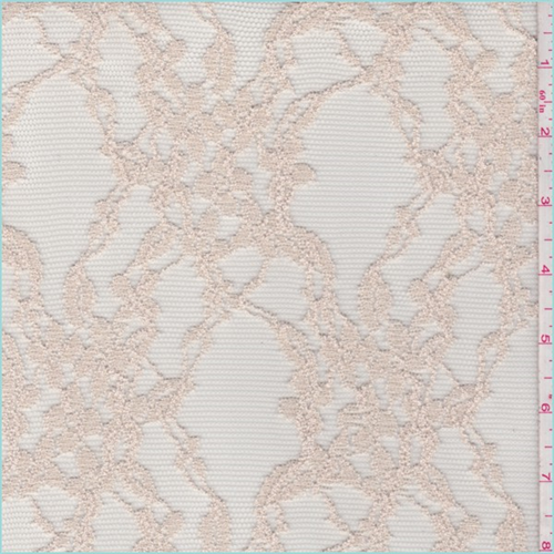 Nude Floral Lattice Tulle Lace, Fabric By the Yard