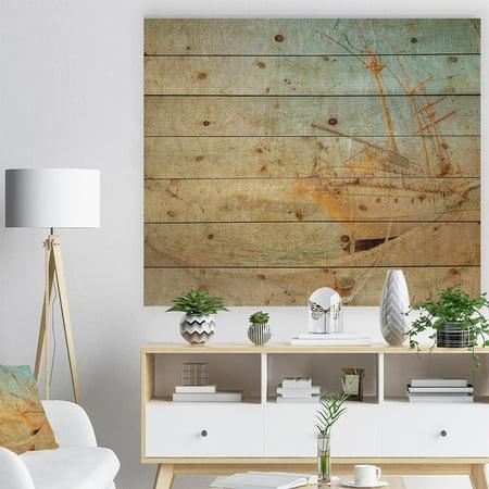 DESIGN ART Designart 'Old Sailing Ship in Sunlight' Seascape Print on Natural Pine Wood - Blue