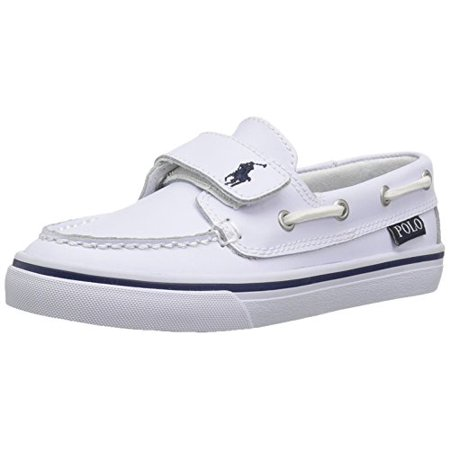 Polo Ralph Lauren Kids Boys' Batten EZ Boat Shoe, White, 5 M US