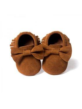 Baby Kids Tassel Leather Crib Shoes Moccasin Infant Boy Girl Prewalker 0-18M