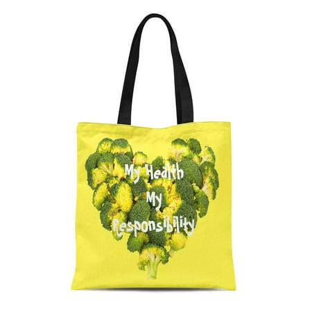 KDAGR Canvas Tote Bag Green Heart My Health Healthy Food Vegetables Broccoli Shaped Reusable Handbag Shoulder Grocery Shopping Bags ()