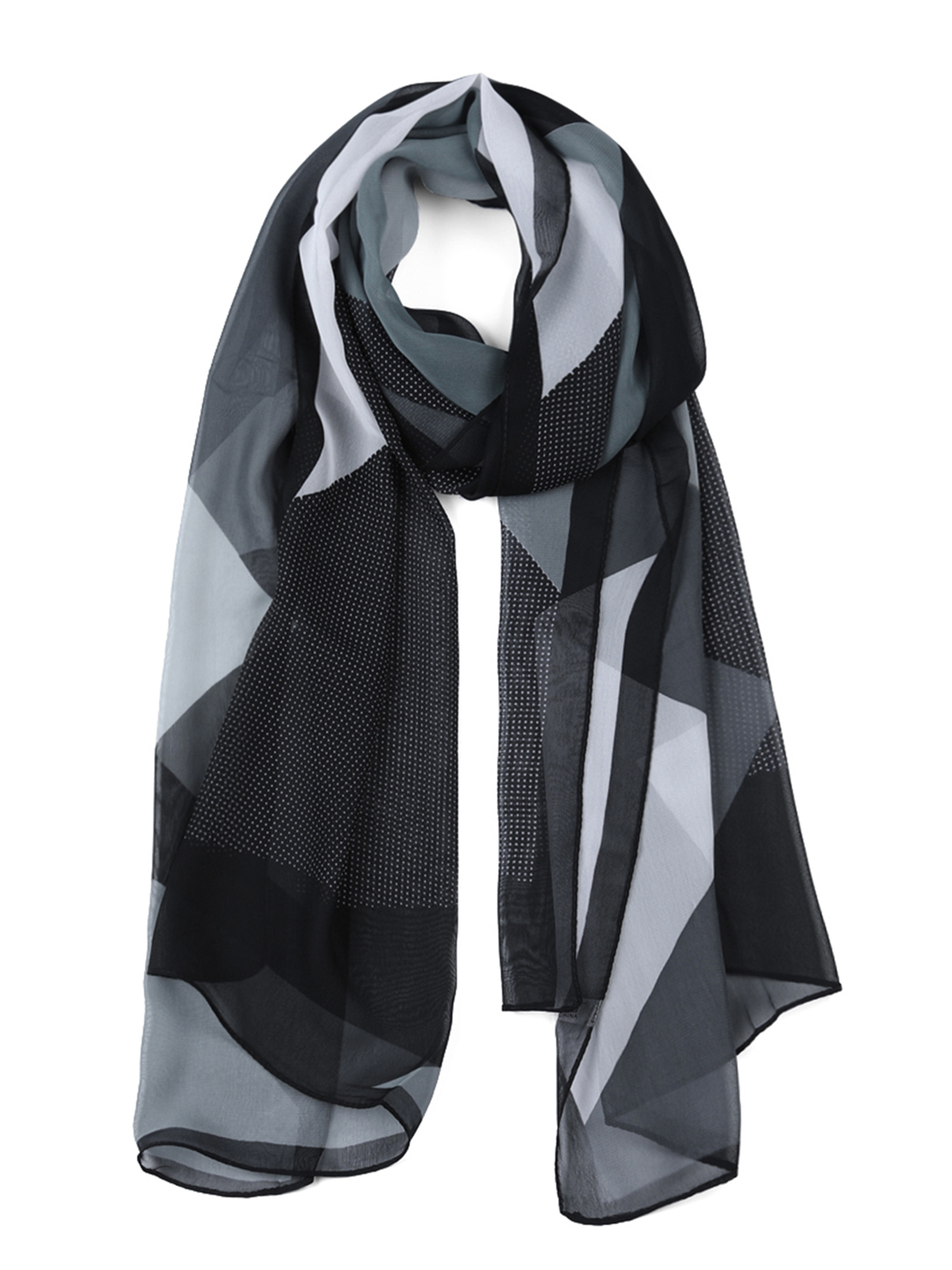Soft Long light weight  Scarf in pale grey with small black birds