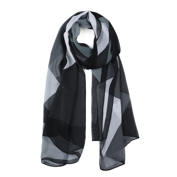 Chiffon Shawl Long Geometric Beach Silk Scarves for Women Black/Gray