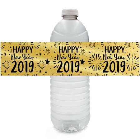 Gold Foil New Year Water Bottle Labels - 24ct - Black and Gold 2019 New Years Eve Party Supplies - 24 Count Stickers](New Years Eve Masks)