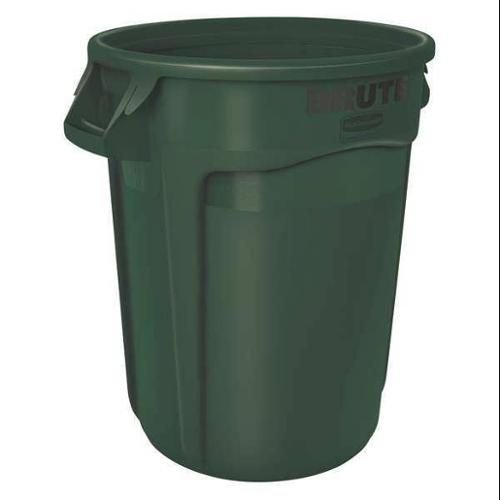 Rubbermaid 32 gal. Round Dark Green Trash Can, FG263200DGRN