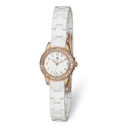 Lex & Lu Ladies Charles Hubert Stainless Steel with Ceramic Band White Dial Watch XWA5506