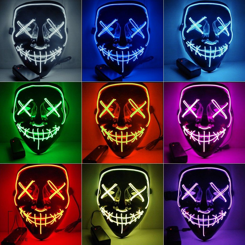 Halloween LED Glow Mask EL Wire Light Up Purge Movie Costume Party STROBE LIGHTS