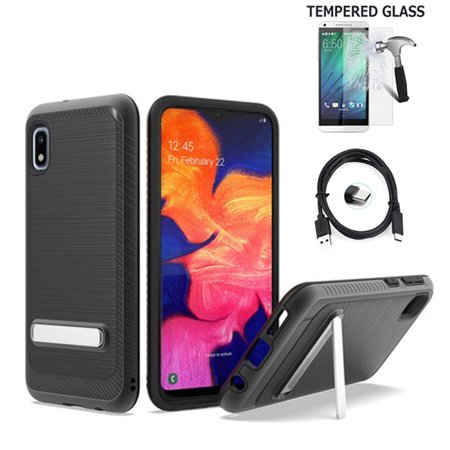 Bundle 3in1 Accessories For Tracfone Samsung Galaxy A10e / A102 Case / A10E Case ( Not for Galaxy A10) Brush Shockproof Dual-Layered Cover (Brush Magnetic Stand Black + Tempered Glass +C-USB) -  Wireless Accessories