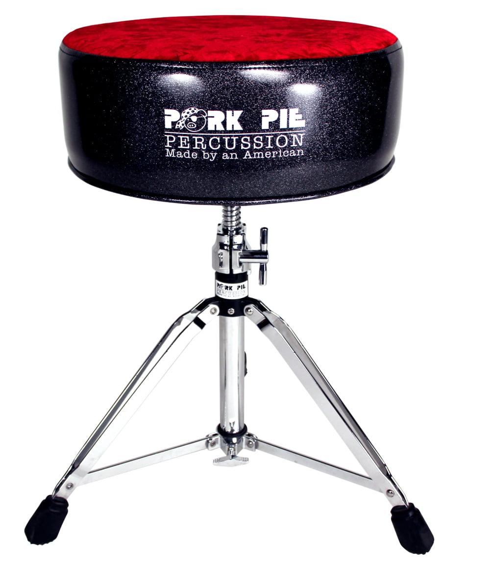 Pork Pie Round Drum Throne Black Sparkle with Red Crush Top by Pork Pie