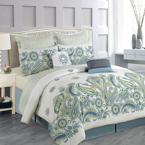 Luxury Home Paisley Cotton 8 Piece Comforter Set