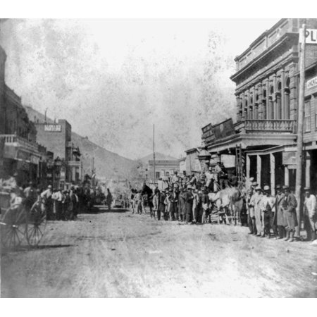 Nevada Virginia City 1866 Nstagecoach Leaving Wells Fargo   Company Express In Virginia City Nevada Photograph C1866 Rolled Canvas Art     18 X 24