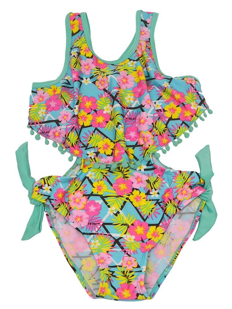 Real Love Little Girls Aqua Floral Print Side Tie Monokini Swimsuit