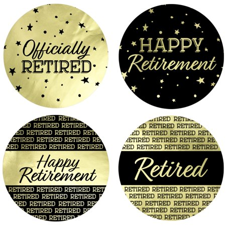 Gold Foil Retirement Party Labels - 40ct - Happy Retirement Decorations - Black and Gold Party Supplies - 40 Count Stickers (1 3/4 inch)