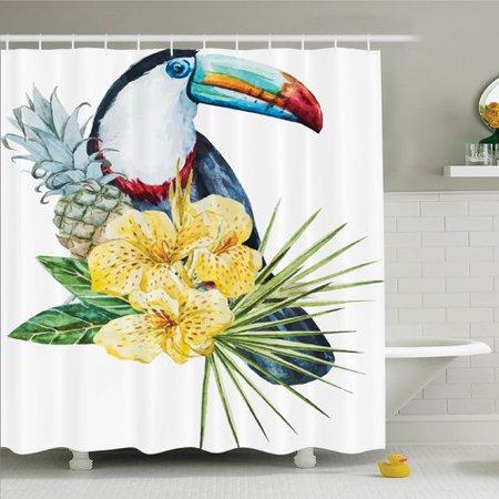 Ambesonne Tropical Toucan Bird Exotic Shower Curtain Set - Walmart.com